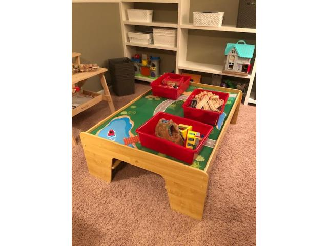 Childrens' train table + all accessories; very gently used