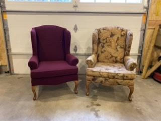 2 wing backed chairs and slipcovers
