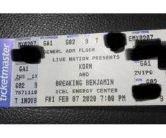 Korn Tickets-2nd row General Admission!!! For tomorrow Friday Feb 7, 7pm