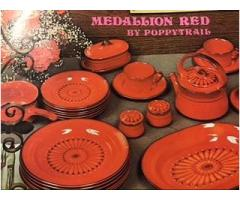 Complete Medallion Red Dinnerware Set by Poppytrail