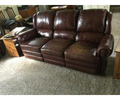 Leather couch & recliner