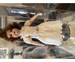 Collectable German Doll with stand and case