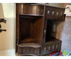 Curio Cabinet and Rolltop Computer Desk - Free