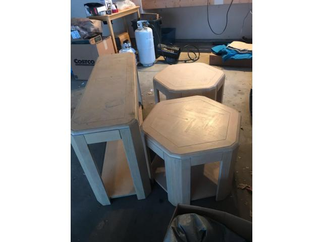 Solid wood end tables and sofa table