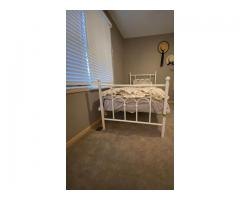 Twin Bed White Metal Frame Child Bed Cute