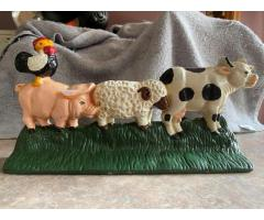 Cast iron farm animals door stop/bookend