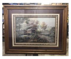"Triple Framed ""Razzberry Creek Crossing"" artwork"